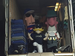 Looks like Brewers mascots want to hitch a ride down to AZ on the equipment truck!