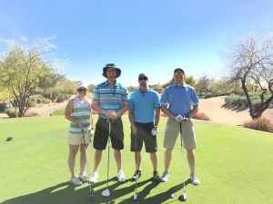 Our group poses on the #1 tee at the Westin Kierland.