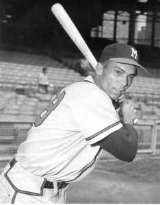 William Bruton of the Milwaukee Braves in his batting stance. Photo courtesy of the National Baseball Hall of Fame and Museum.