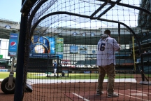 Alfred Robles, taking some hacks.