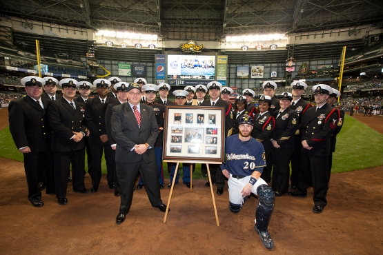 Jonathan Lucroy was honored before tonight's game vs. the Giants. PHOTO: Scott Paulus/Milwaukee Brewers