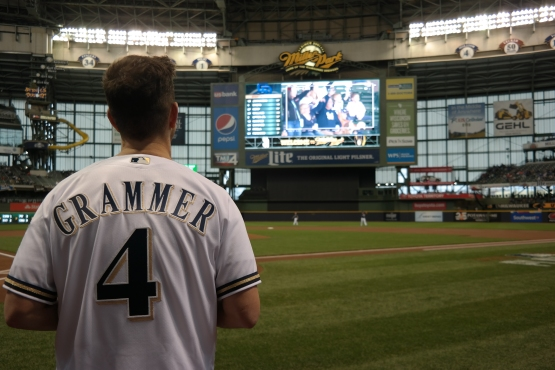 Andy Grammer gets ready for his ceremonial first pitch.