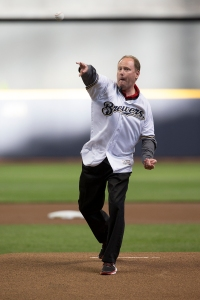 Greg Gard tosses the ceremonial first pitch before Brewers vs. Oakland on June 7, 2016. PHOTO: Scott Paulus/Milwaukee Brewers
