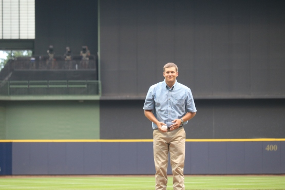 Joe Adcock's grandson, Joe, threw out the first pitch tonight at Miller Park