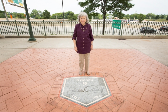 Joe's wife, Joan, stands near his spot on the Walk of Fame.
