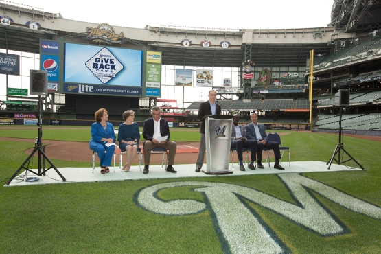 Brewers COO Rick Schlesinger announces the #GiveBackGame at Miller Park. Photo: Scott Paulus/Milwaukee Brewers