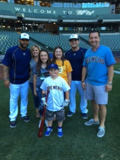 Luka and his parents had a great time at Miller Park, capped off by a Brewers victory!