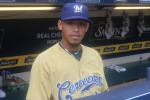 Orlando Arcia wears his Cerveceros uniform.